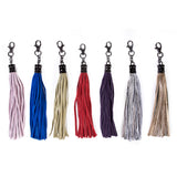 Silver Real Leather Tassel Bag Charms and Key Rings - Amilu