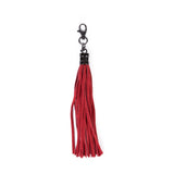 Red Real Leather Tassel Bag Charm - Amilu