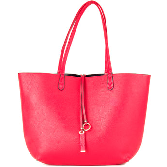 Red and Black Faux Leather Reversible Shopper Tote Bag - Amilu Handbags