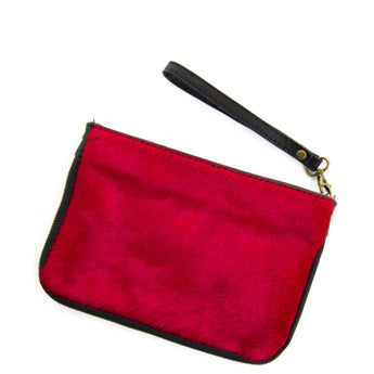 Red Real Leather & Cow Hair Clutch Bag