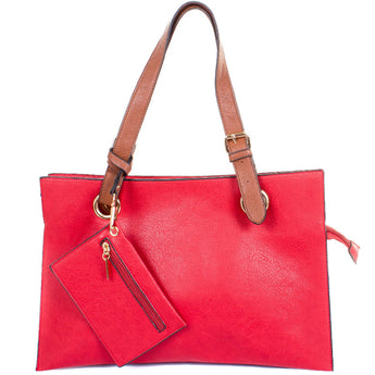 Red Faux Leather Divided Shopper Bag