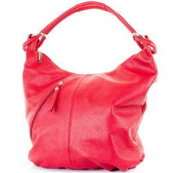 Red Real Leather Hobo Slouch Bag