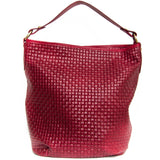 Red Real Leather Hobo Slouch Handbag