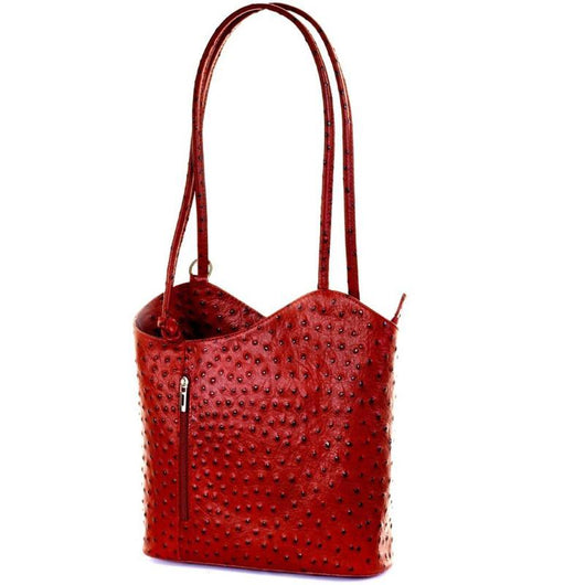 Red Real Leather Shoulder Backpack Bag