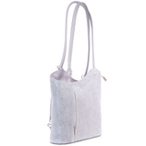 Light Grey Florens Embossed Real Leather Shoulder Backpack Bag