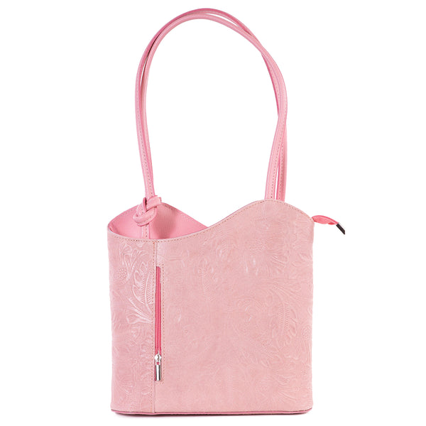Rose Pink Florens Embossed Real Leather Shoulder Backpack Bag