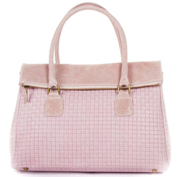 Rose Pink Real Leather Tote Handbag