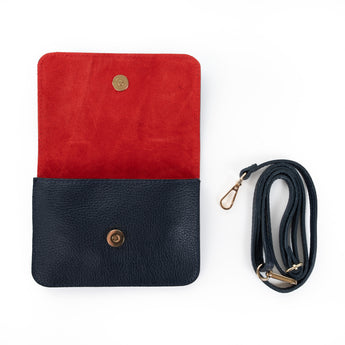 Navy and Red Two Tone Leather and Suede Cross Body Bag