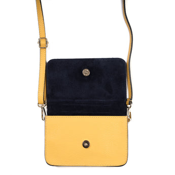 Yellow and Navy Blue Two Tone Leather and Suede Cross Body Bag