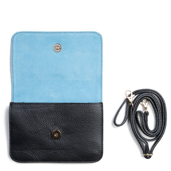 Black and Blue Two Tone Leather and Suede Cross Body Bag - Interior