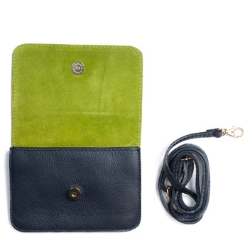 Navy and Lime Two Tone Leather and Suede Cross Body Bag - Interior - Amilu