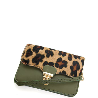 Green Leopard Real Leather & Cow Hair Mini Cross Body Bag