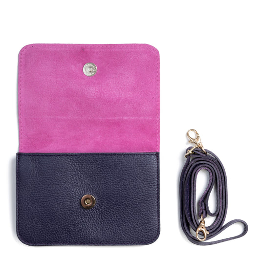 Purple and Pink Two Tone Leather and Suede Cross Body Bag - Interior - Amilu
