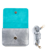 Silver and Turquoise Two Tone Leather and Suede Cross Body Bag - Interior - Amilu