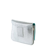 Silver and Turquoise Two Tone Leather and Suede Cross Body Bag - Side- Amilu