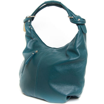 Teal Real Leather Hobo Slouch Bag