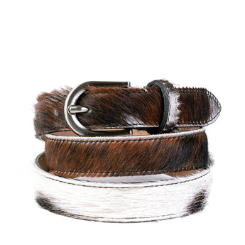 Natural Cow Hair and Real Leather Narrow Belt - Amilu
