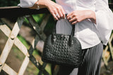 Black Croc Real Leather Grab Bag