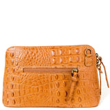 Tan Croc Print Real Leather Cross Body Bag Back - Amilu