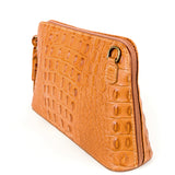 Tan Croc Print Real Leather Cross Body Bag Side - Amilu