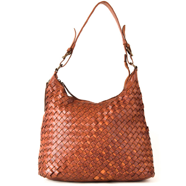 Classic Tan Real Italian Leather Weave Shoulder Bag