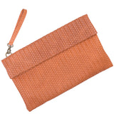 Tan Weave Effect Real Leather Clutch Bag - Amilu Handbags