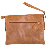 Tan Soft Real Leather Cross Body Bag Back