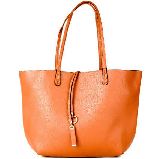 Tan and Cream Faux Leather Reversible Shopper Tote Bag - Amilu Handbags - Free UK Delivery