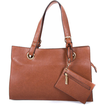 Tan Faux Leather Divided Shopper Bag