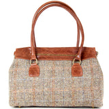 Tan Harris Tweed Real Leather Tote Bag - Amilu Handbags - Autumn Handbag Collection