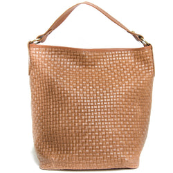 Tan Real Leather Hobo Slouch Bag