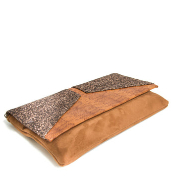 Tan Suede Envelope Clutch Bag