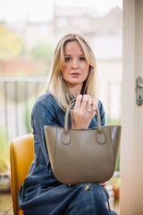 Taupe Real Leather Small Grab Bag