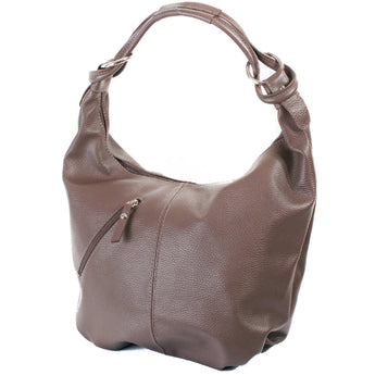 Classic Taupe Real Leather Slouch Shoulder Bag - Amilu Handbags