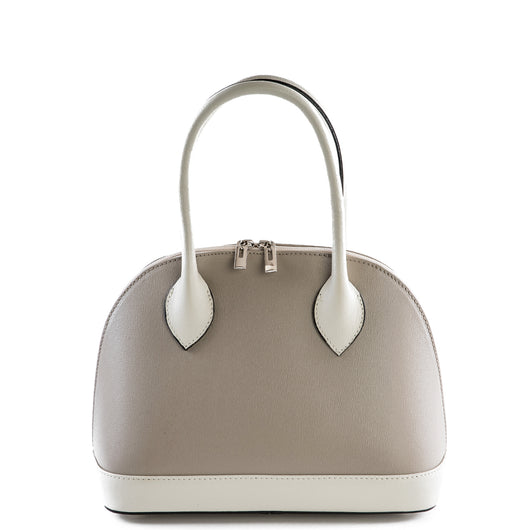 Taupe and Cream Real Leather Grab Bag
