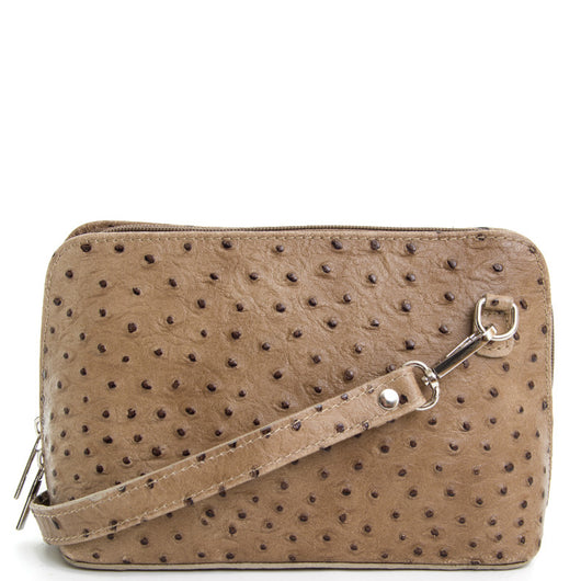 Taupe Ostrich Print Leather Cross Body Bag - Amilu