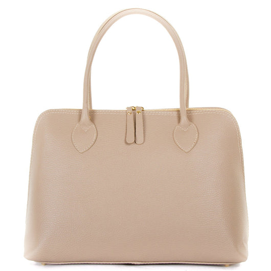 Taupe Real Leather Shoulder Handbag