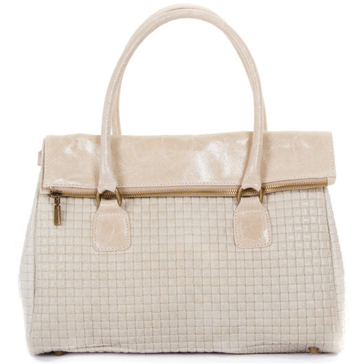 Taupe Real Leather Tote Handbag