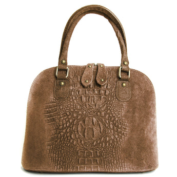 Taupe Suede Real Leather Grab Handle Tote Handbag