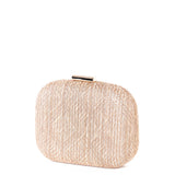 Textured Straw Gold Embroidery Hardcase Box Clutch