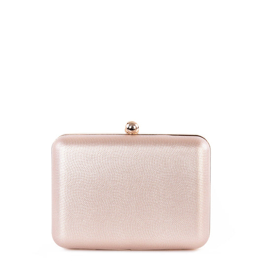 Textured Rose Gold Hardcase Box Clutch