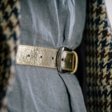 Gold Real Italian Leather Wide Belt - Amilu - Lifestyle