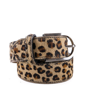 Leopard Cow Hair and Real Leather Wide Belt - Amilu