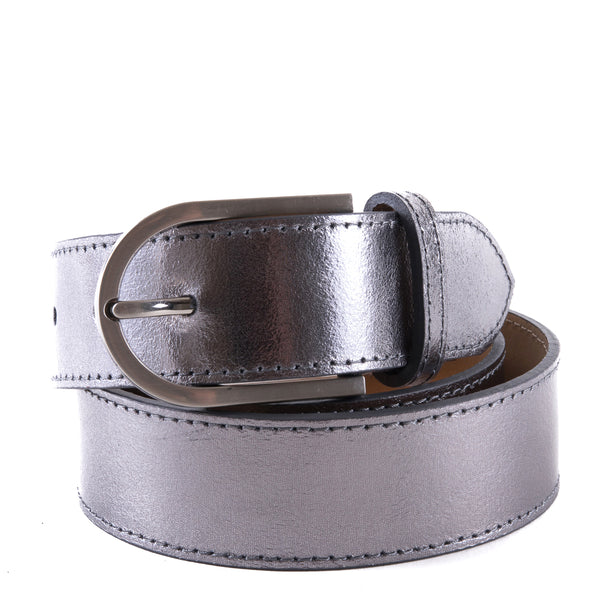 Silver Real Italian Leather Wide Belt - Amilu