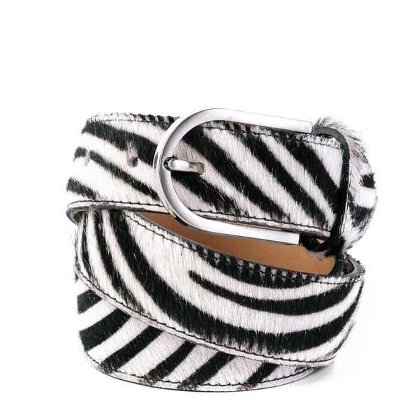 Zebra Cow Hair and Real Leather Wide Belt - Amilu
