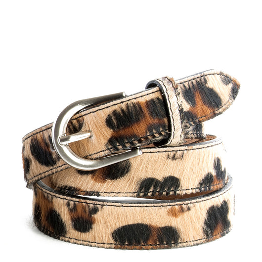 Leopard Cow Hair and Real Leather Narrow Belt