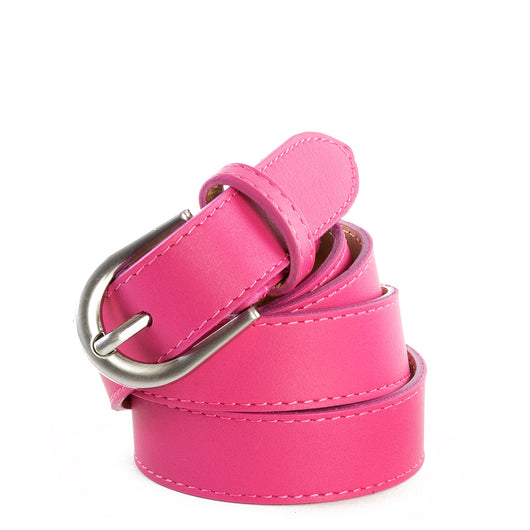 Pink Real Italian Leather Narrow Belt