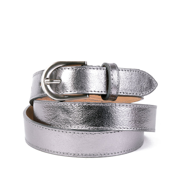 Silver Real Italian Leather Narrow Belt - Amilu