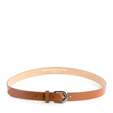 Tan Real Italian Leather Narrow Belt - Amilu