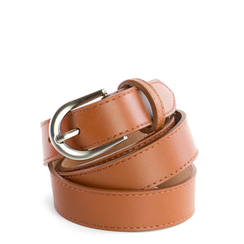 Tan Real Italian Leather Narrow Belt